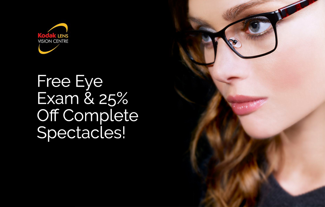 Free Eye Exam & 25% off Complete Spectacles